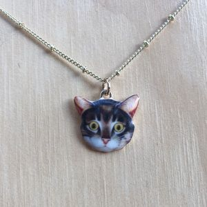 Brown Tabby Kitty Charm Necklace